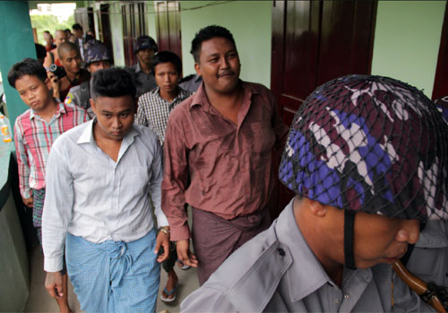 The four accused departing from the court after hearing the judge's verdict (Sithu Lwin)