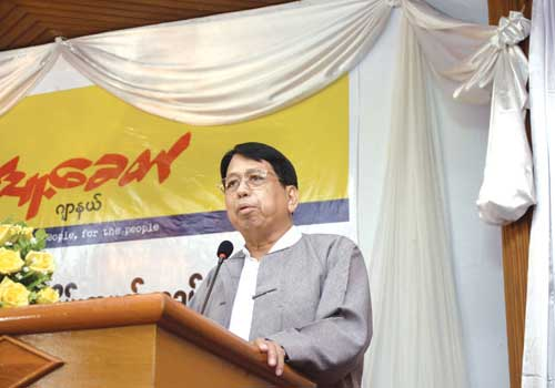 'Pyithu Khit' chief editor U Pe Myint speaks at the June 10 ceremony. Thiri / The Myanmar Times