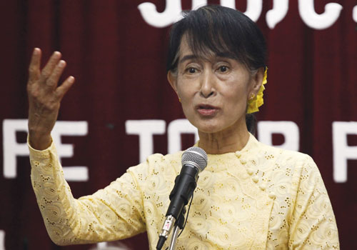 Daw Aung San Suu Kyi speaks during a press conference at the National League for Democracy Party headquarters in Yangon on July 3. Photo: AFP