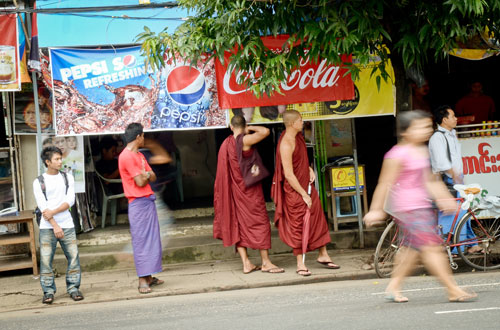 Image of the cola war on Yangon's streets. Boothee / The Myanmar Times