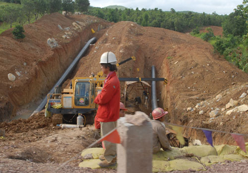 Workers oversee the laying of pipelines in Kyaukme, northern Shan State. Photo: Supplied