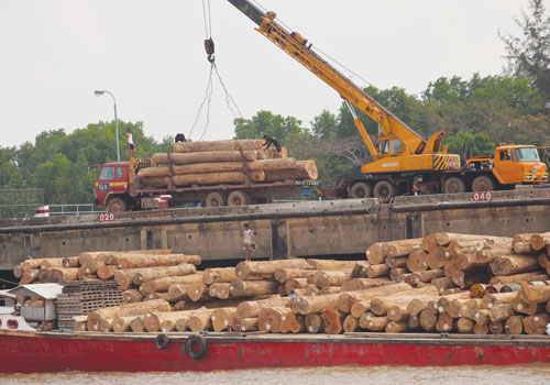 Workers unload teak logs at the Myanmar International Terminals Thilawa port in Kyauktan township.  Stuart Deed / The Myanmar Times
