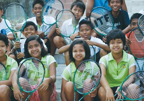 Juniors boarding at the Tennis Federation of Myanmar in Yangon prepare to play at Thein Byu Tennis Centre.  (The Tennis Federation of Myanmar)