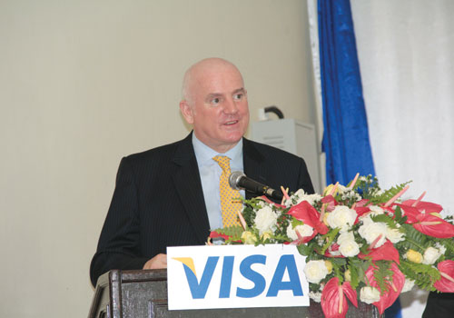 Mr Peter Maher speaks during a Visa press release at the Sedona Hotel in Yangon Saturday, November 3, 2012 to announce the company's partners in Myanmar. (Thiri Lu / The Myanmar Times)