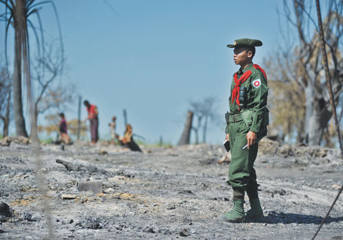 A soldier in Rakhine State in late October. Photo: Kaung Htet