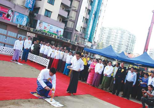 Capital Development Limited project director U Aye Thaw at a ground breaking ceremony for the Shwegondaing flyover on Wednesday, December 12, 2012. (Thiri Lu / The Myanmar Times)
