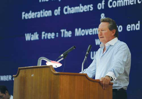 Andrew Forrest addresses the audience at the Walk Free event at the Union of Myanmar Federation of Chambers of Commerce and Industry office in Yangon Friday, December 14, 2012. (Ko Taik/The Myanmar Times)