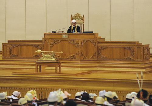 Speaker Thura U Shwe Mann presides over the fourth session of the Pyithu Hluttaw in July 2012. (AFP)