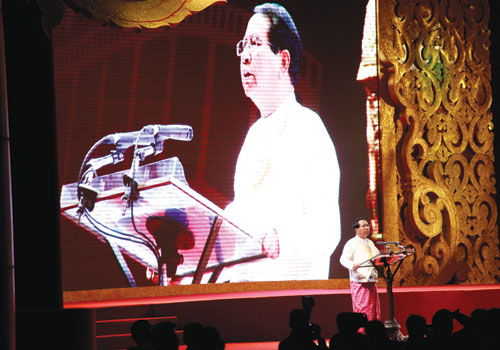 Former Minister for Information U Kyaw Hsan speaks at the 2010 Academy Awards, held in Nay Pyi Taw in January. (Yadanar/The Myanmar Times)
