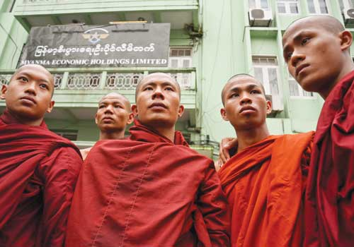 Monks protest outside the UMEHL office in downtown Yangon following the crackdown on Letpadaung on November 29, 2012.  (Boothee/The Myanmar Times)