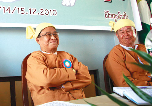 Shan Nationalities Democratic Party leader U Sai Aik Paung (L) at the party's national convention in Taunggyi in December 2010. (Aye Zaw Myo/The Myanmar Times)
