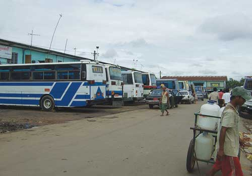 Busses at Aung Mingalar highway station in 2012. (Supplied)