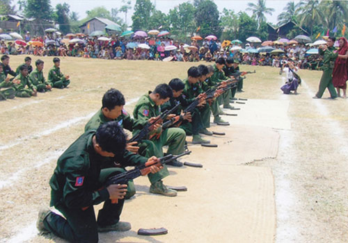 Armed militants in southern Kachin State form a people's militia group in 2012. (Supplied)