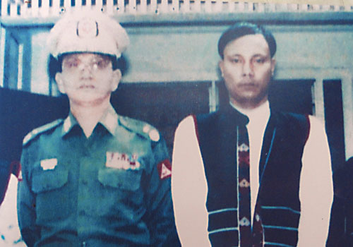 President U Thein Sein, then the commander of Triangle Region Command, with U Ko Oo. (Supplied)
