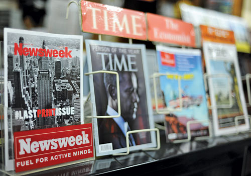 The last print edition of 'Newsweek' on sale at Innwa bookstore in downtown Yangon. (Ko Taik/The Myanmar Times)