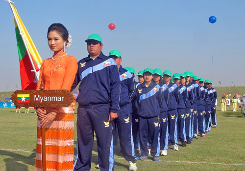 Myanmar archers at the opening ceremony of the 5th Southeast Asia Archery Championship in Nay Pyi Taw January 9, 2012.(Pyae Thet Phyo/The Myanmar Times)