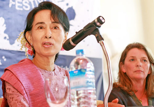 Aung San Suu Kyi speaks at a press conference held at Inya Lake Hotel in Yangon on January 6, 2012, to announce the Irrawaddy Literature Festival scheduled for February 1 to 3. (Thiri/ The Myanmar Times)