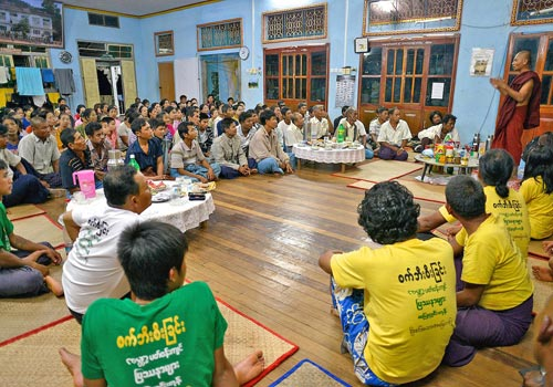 U Aw Ba Tha explains the Dawei Special Economic Zone project to residents of Ma Yin Gyi. (Marcus Rhinelander/The Myanmar Times)