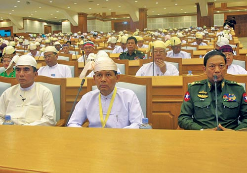 From L to R: Minister for Communications and Information Technology U Myat Hein, Minister for Religious Affairs U San Sint and Minister for Border Affairs Lieutenant General Thet Naing Win in the Pyidaungsu Hluttaw on February 14, the day they were sworn in to their new roles. (Win Ko Ko Latt/The Myanmar Times)