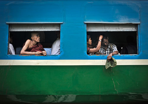 The Yangon circle line train. (Kaung Htet/The Myanmar Times)