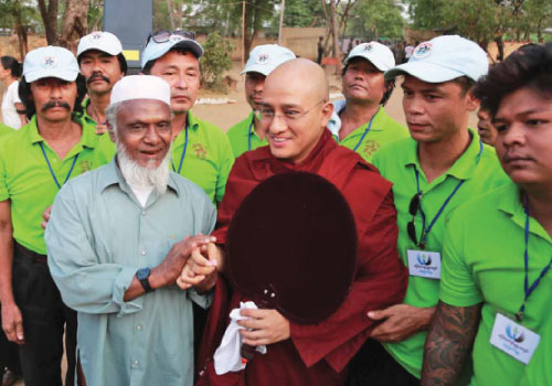 The Venerable Ashin Sandadika arrives at a camp for people displaced by violence in Meiktila on April 1. Photo: Supplied