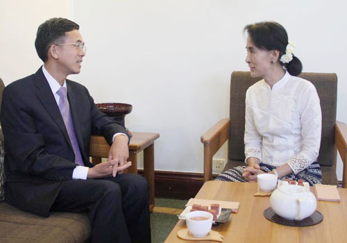 Chinese ambassador to Myanmar Yang Houlan with Daw Aung San Suu Kyi. Photo: Supplied