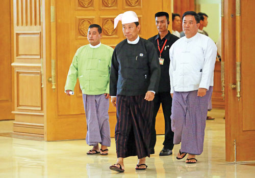 Pyithu Hluttaw Speaker Thura U Shwe Mann arrives for a ceremony to take over as Pyidaungsu Hluttaw speaker from U Khin Aung Myint on July 31. He will hold the post for 30 months. (Boothee/The Myanmar Times)