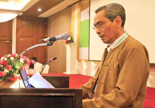Maung Wuntha speaks at a conference in Yangon in March 2012. Photo: Staff