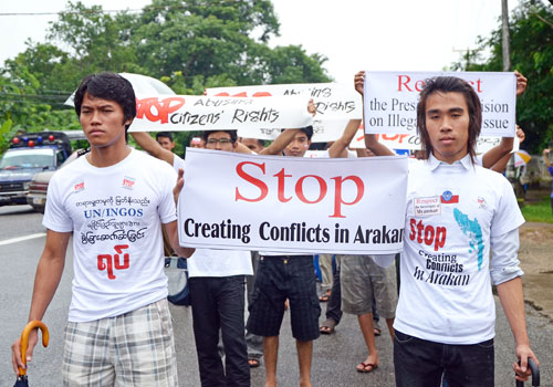 Demonstrators call for the United Nations and international NGOs to leave Rakhine State during a protest in Yangon in 2012. Photo: Staff