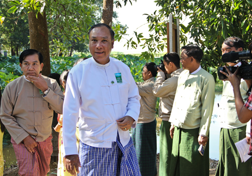Myanmar's environment minister arrives for a press conference to announce energized efforts to protect Myanmar's wetlands. Photo: Zarni Phyo