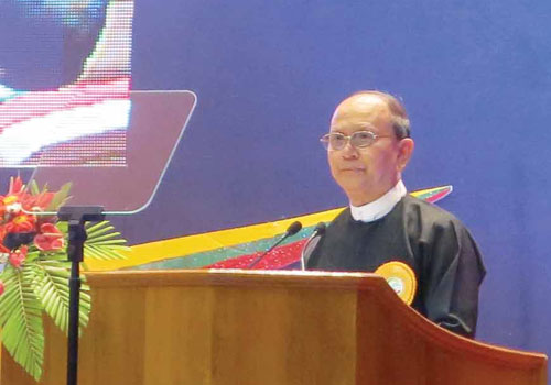 President U Thein Sein speaks at the launch of the 2014 census in Nay Pyi Taw on March 1. (Pyae Thet Phyo/The Myanmar Times)