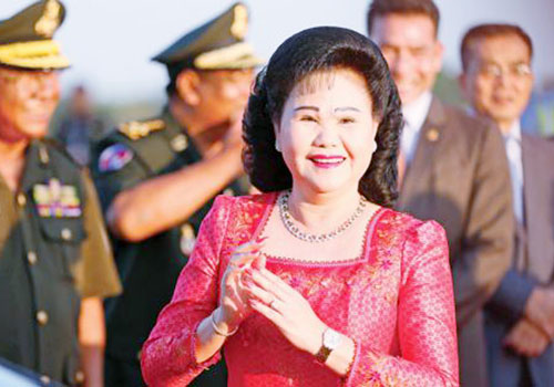 Cambodia's First Lady Bun Rany doesn't feature on Khmer Wikipedia. (Hong Menea/Phnom Penh Post)