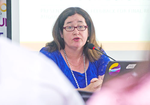 Bridget Welsh, a senior adviser to the Asian Barometer Survey, speaks at a press conference yesterday. (Aung Khant/The Myanmar Times)