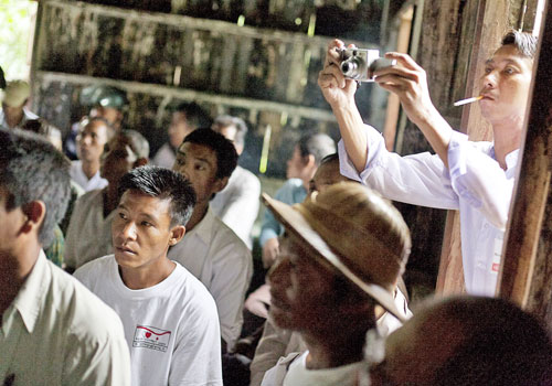 The Democratic Party (Myanmar) holds a meeting in Thayarwady township in Bago Region in 2010. Photo: Christopher Davy