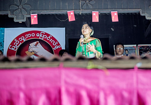 Daw Aung San Suu Kyi addresses a crowd during a rally in Nay Pyi Taw at the end of August. Photo: Zarni Phyo / The Myanmar Times