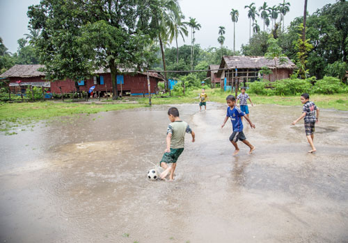 Children play in Mudu village. One day they may be relocated, a possibility which concerns local residents.
