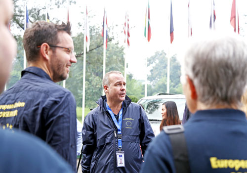 Election observers from the EU team meet with reporters in the capital on October 19. (Thiri Lu/The Myanmar Times)
