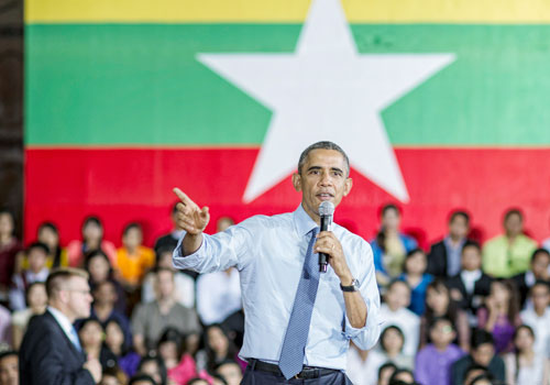 US President Barack Obama speaks in Yangon last year. Photo: Kaung Htet / The Myanmar Times