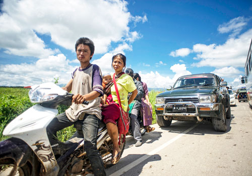 Vehicles ply the Myawaddy highway. (Kaung Htet/The Myanmar Times)