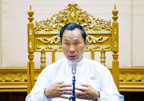 Thura U Shwe Mann speaks at a press conference on February 11. Photo: AFP