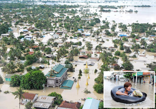 An aerial view shows the flooded area of Kalay, Sagaing Region, on August 1. Photos: AFP