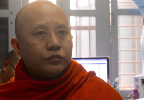 Controversial hyper-nationalist monk U Wirathu has been less than pleased with the strong showing from the NLD in intitial polling results. Photo: RJ Vogt / The Myanmar Times