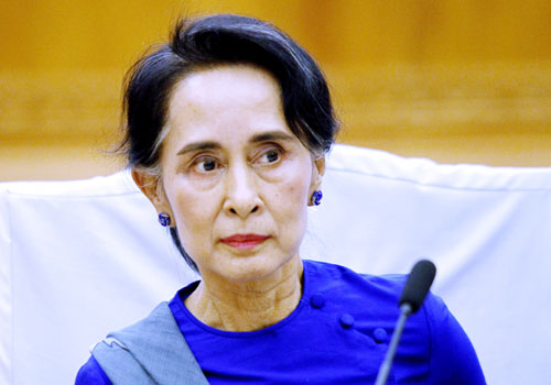 Daw Aung San Suu Kyi meets with National League for Democracy members at parliament in Nay Pyi Taw yesterday. Photo: EPA