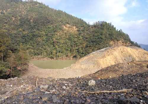 Water pools behind a landslide in Tonzang township, Chin State.Supplied
