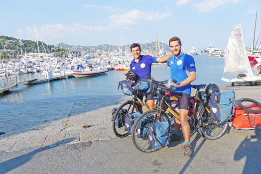 Theo Rohfritsch and Simon Valdenaire began their trip on bamboo bicycles in France – Myanmar is the 13th country they have visited on the trip to raise awareness about water scarcity. Photos: Supplied