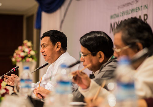 "U Ye Htut speaks to the media during a press conference on ""New Dynamics in Myanmar Media"" at Chatrium in Yangon on December 10, 2015. Photo: Zarni Phyo / The Myanmar Times"