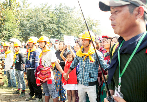 Members of Christian anti-narcotic group Pat Ja San gather in Waingmaw, Kachin State, where they have been blockaded by police. Photo: EPA