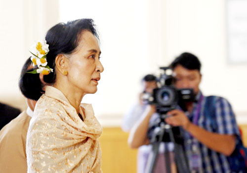 Daw Aung San Suu Kyi attends the last day of the outgoing parliament in Nay Pyi Taw on January 29. Photo: EPA