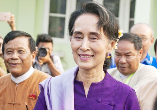 Daw Aung San Suu Kyi leaves a meeting with National League for Democracy MPs on March 14. Photo: AFP