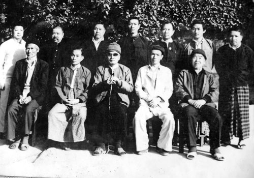A photo from the 1980s of local leaders from the Tarmoenye area, including militia leader U Myint Lwin and U Tuan Zin Yuan's father. Photos: Fiona MacGregor